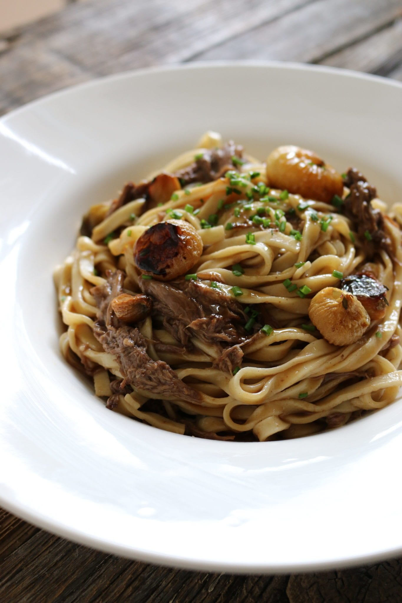 pasta, beef, braised, garlic, caramelized onion